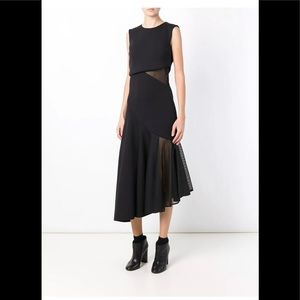 DKNY  asymmetrical mesh insert dress black size M